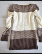 Sweter mięciutki beżowy stonowany 38 M...