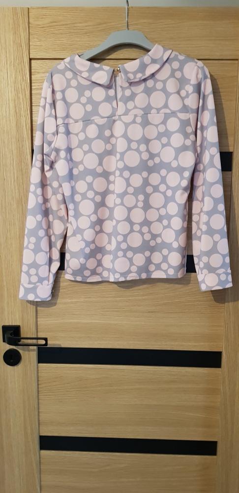 Różowo szara bluzka elegancka wizytowa...