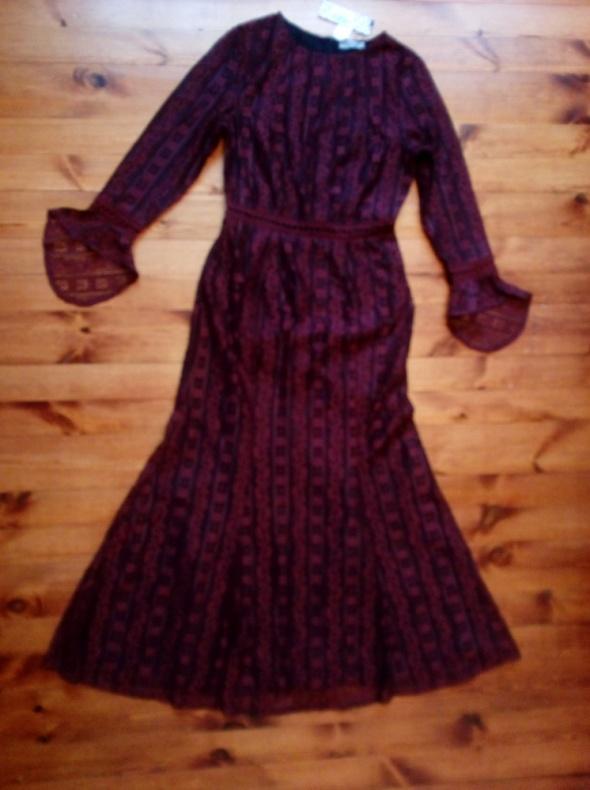 Wieczorowa bordowa suknia M L
