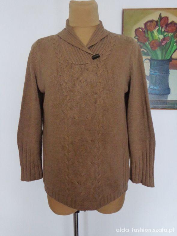 OLSEN markowy sweter z łatami beż 46