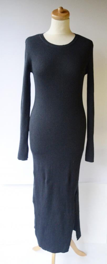 Sukienka Granat Prążki H&M S 36 Długa Rozporek