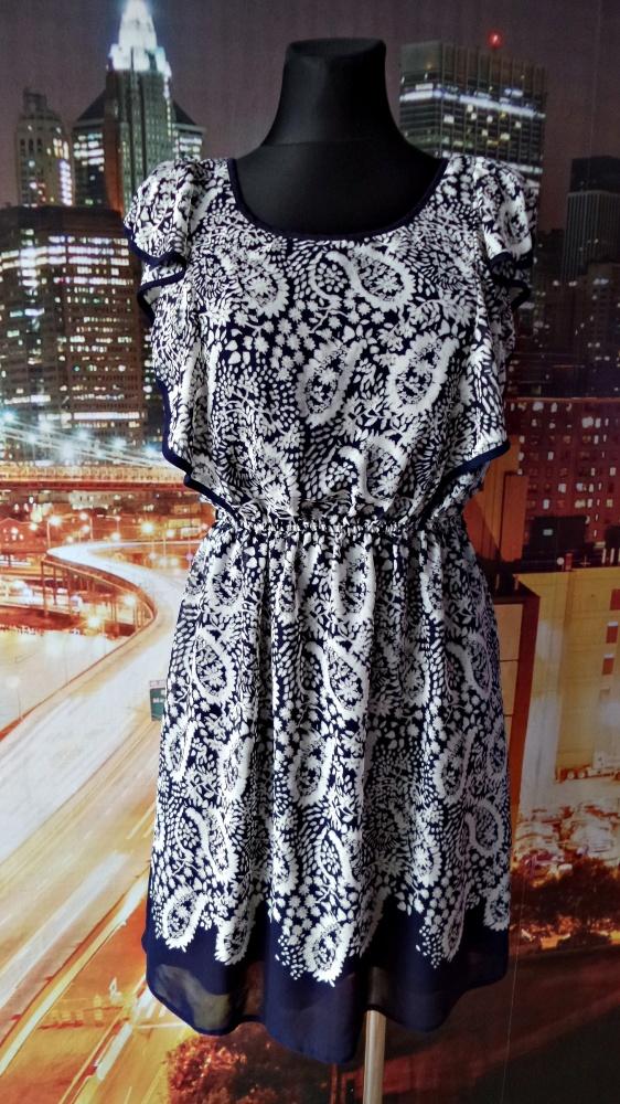 f&f sukienka zwiewna mgiełka wzory 40 L