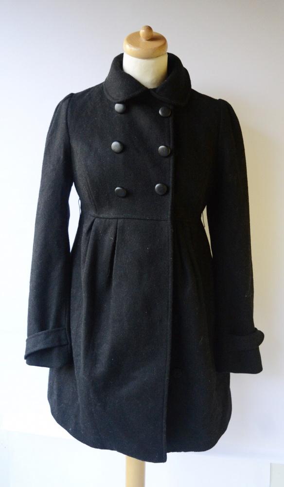 Płaszcz Czarny H&M Mama S 36 Ciążowy Wełna Z Odzysku Ciąża