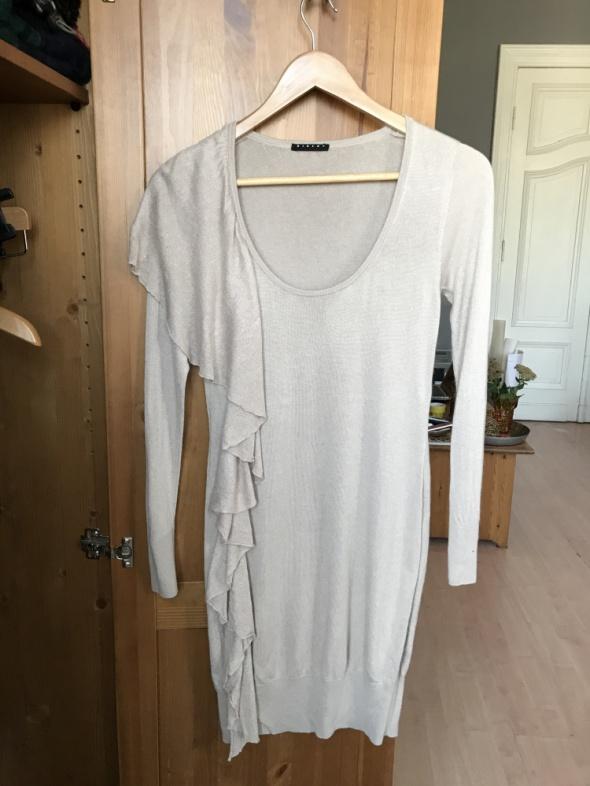 Sukienka beżowa dzianina falbana Sisley 38 M