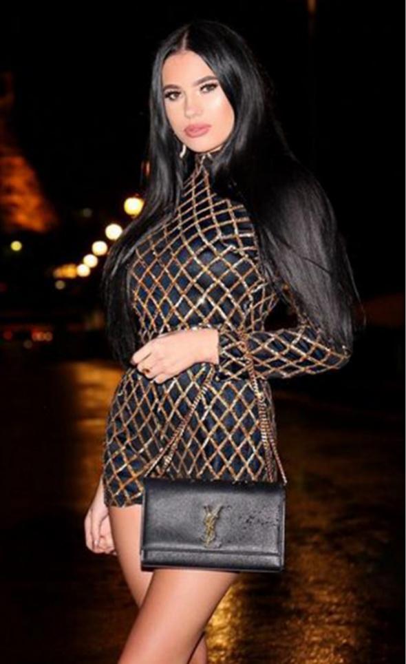 Sukienka czarna złote cekiny romby stójka
