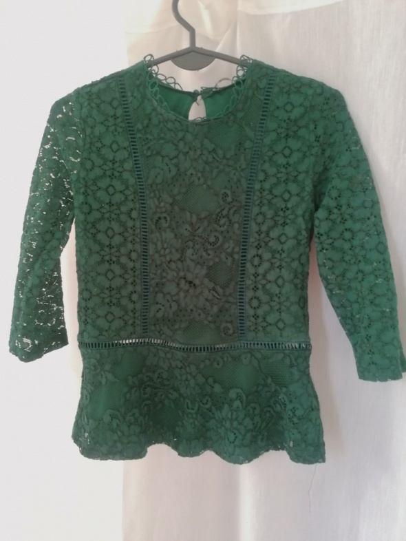 Koronkowa bluzka butelkowa zieleń...