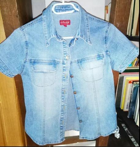 Koszule GRATIS wysylka S 36 koszula jeansowa dżinsowa krótki rękaw unikat