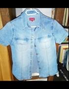 GRATIS wysylka S 36 koszula jeansowa dżinsowa krótki rękaw unik...