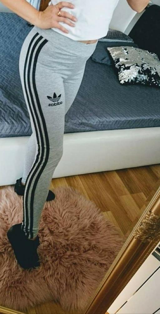 Legginsy adidas szare czarne paski