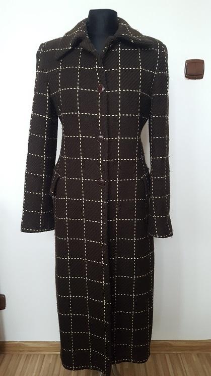 ZARA elegancki wełniany płaszcz zimowy 36 38 S M