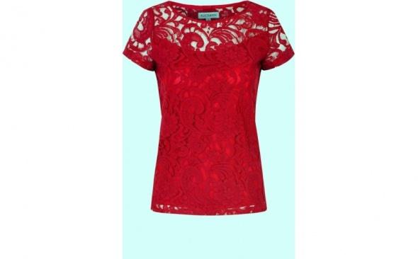 Koronkowa bluzka czerwona 40 KORONKOWY TSHIRT