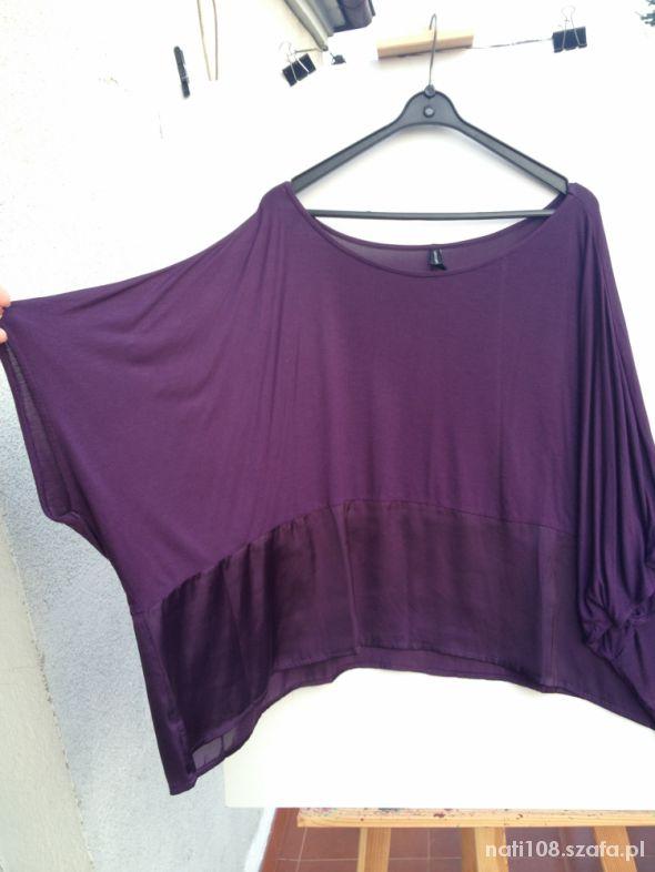 Fioletowa bluzka tunika oversize L
