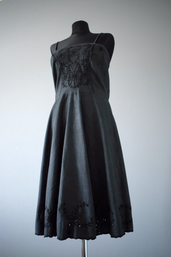Ciemnoszara czarna sukienka vintage retro zdobienia unikat 34 36