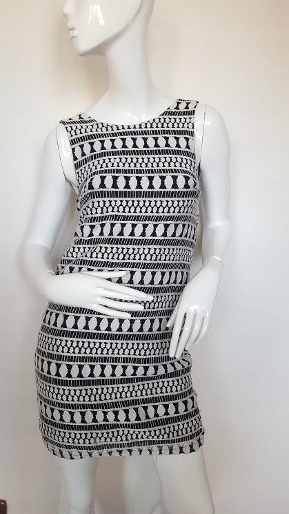 Koronkowa elegancka biało czarna sukienka 38 M...