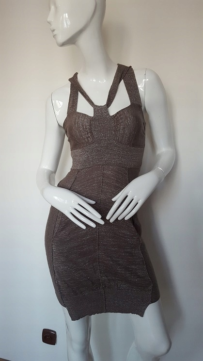 AllSaints elegancka welniana sukienka błyszcząca S M...