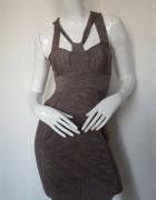 AllSaints elegancka welniana sukienka błyszcząca S M