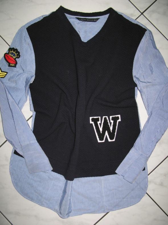 ZARA granatowa bluzka koszulowa damska roz 34