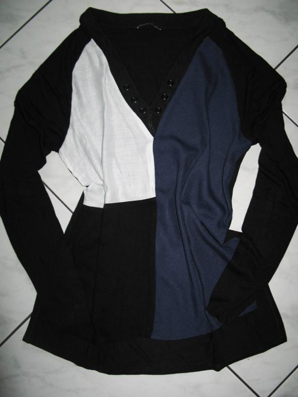 ZARA czarna bluzka asymetryczny wzór roz 36