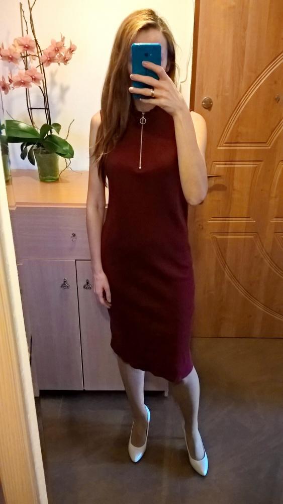 Bordowa prążkowana sukienka Marks&Spencer L XL