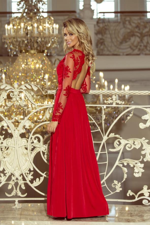 Długa suknia czerwona odkryte plecy rM