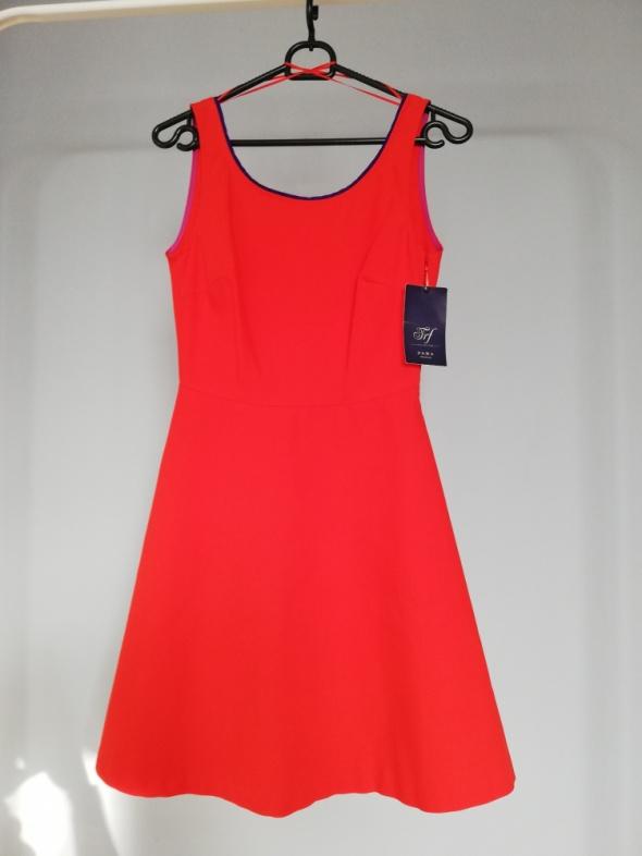 Zara rozkloszowana bawełniana czerwona sukienka XS