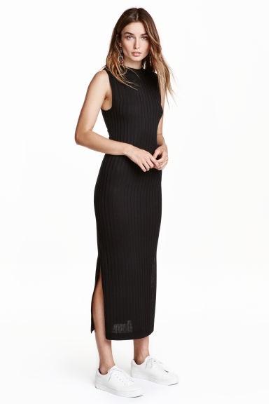 H&M sukienka 36 S czarna rib prążki maxi