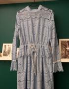 sukienka boho koronkowa błękitna wesele