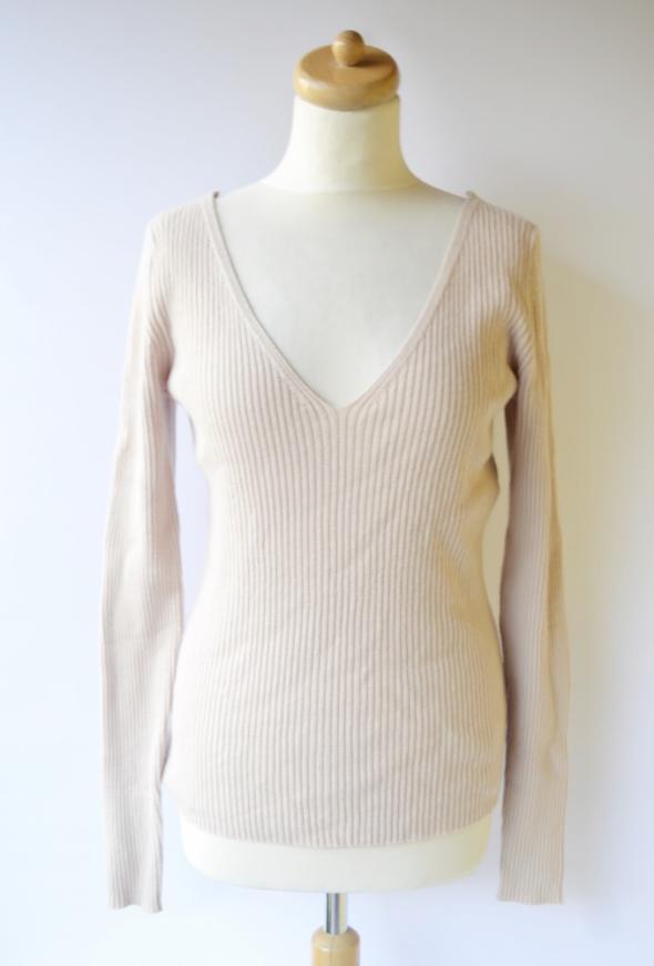 Sweter Beżowy Prążkowany Prążki H&M L 40 Dekolt V...