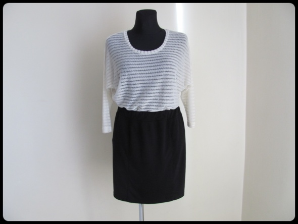 Mini zestaw rozmiar 40 L bluzka ecru oraz czarna spódnica