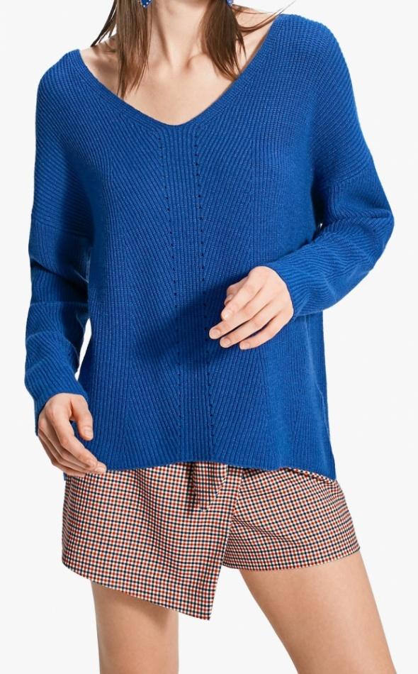 Stradivarius kobaltowy sweter oversize rozm S...