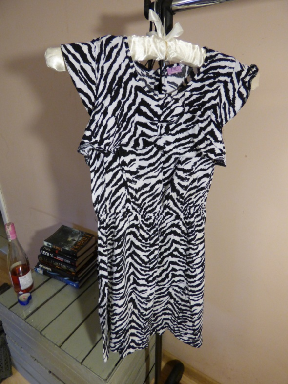 Sukienka F7F retro zebra XS S 34 36 unikatowa eleg