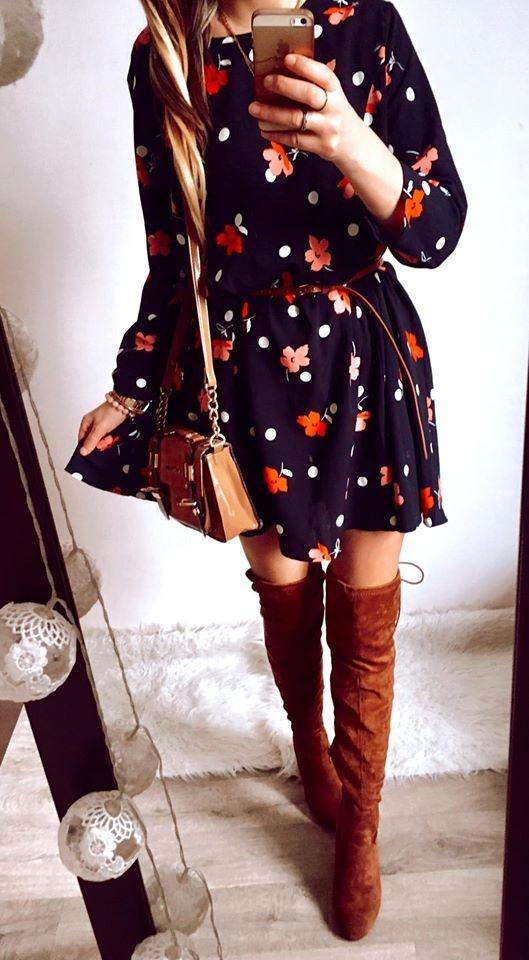 Sukienka Damska w kwiaty rozkloszowana L
