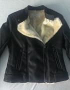 Zara kurtka ze sztucznej skóry z kożuszkiem futerkiem...