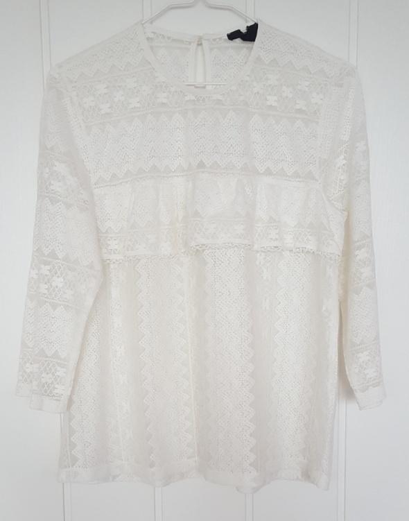 Biała elegancka bluzka H&M M 38 ażurowa siatka retro vintage falbana firanka boho hippie