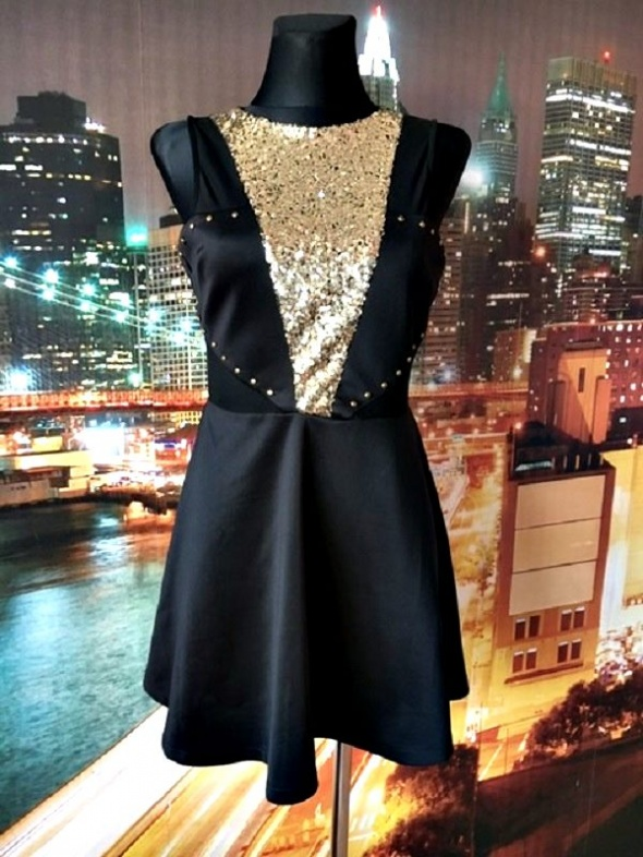 sukienka rozkloszowana cekiny dzety siateczka sylwester 36 S