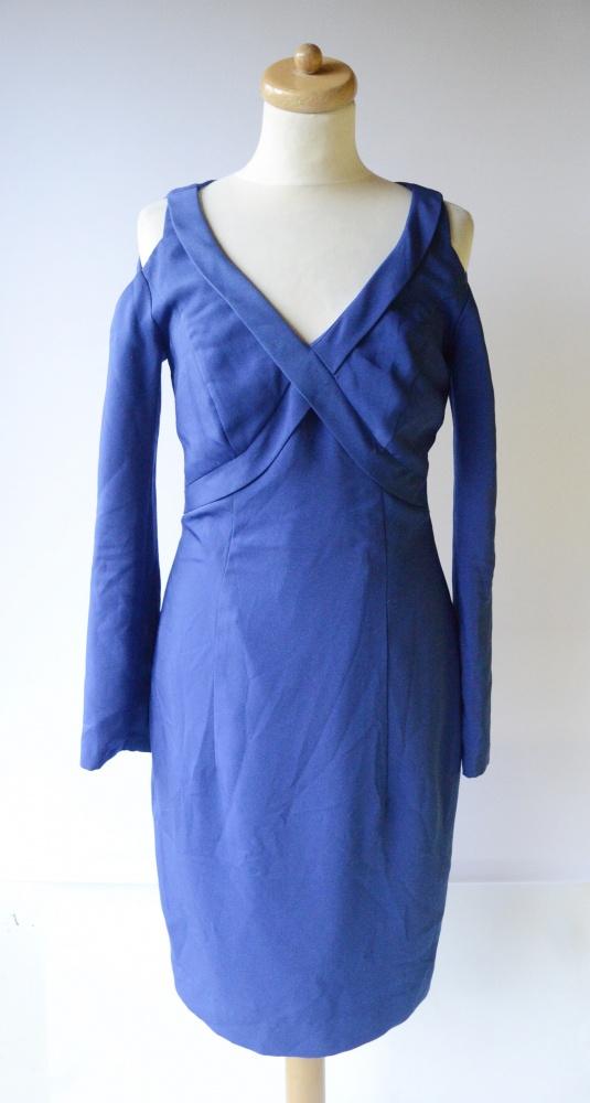 Sukienka Kobaltowa S 36 Odkryte Ramiona Elegancka Wizytowa