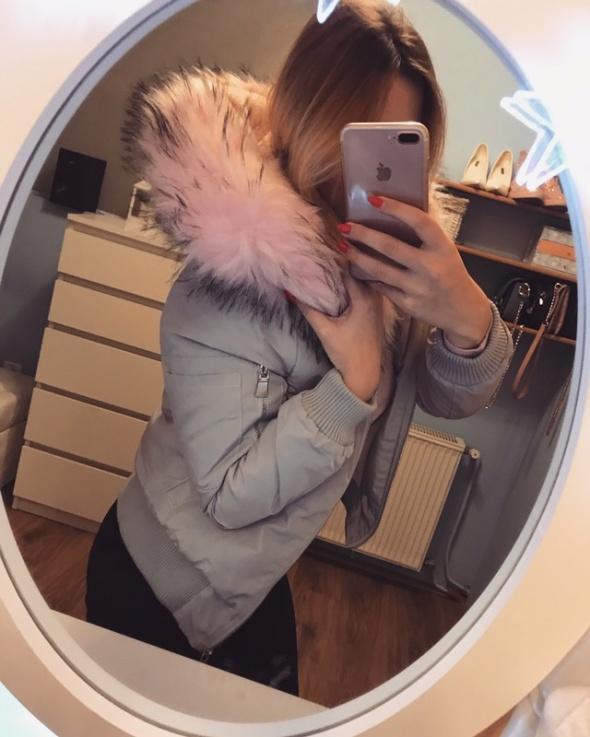 Nowa zimowa kurtka różowe futerko XS S...
