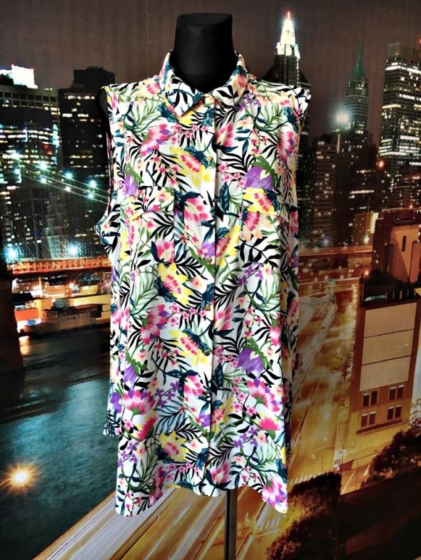 primark bluzka mody wyszczuplający wzór kwiaty floral 48