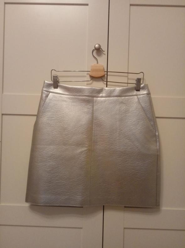 Spódniczka srebrna Orsay skórzana nowa...