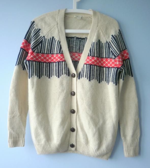 Forever21 sweter ciepły beżowy norweski nude