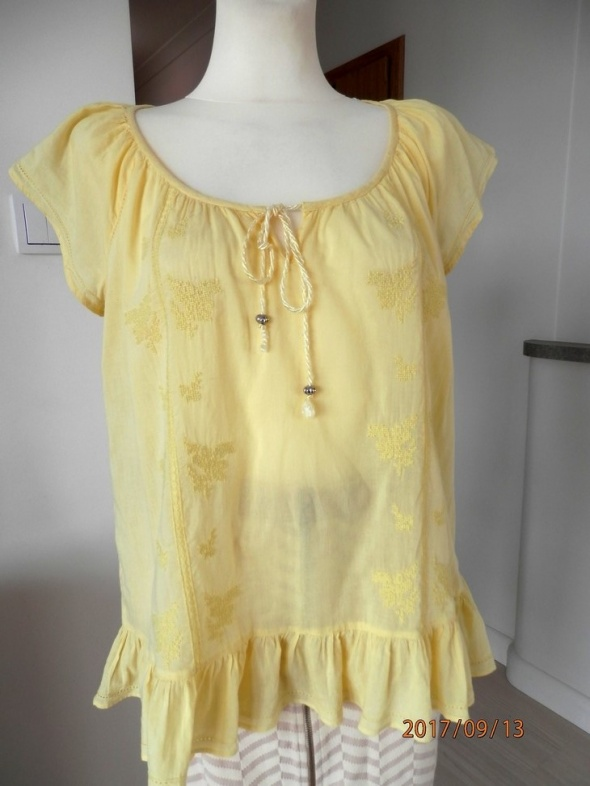 Bluzka Dorothy Perkins Cytrynowa Modny Haft Boho XL
