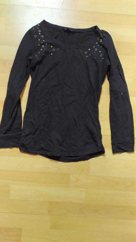 Czarny sweterek bluzka z długim rękawem 38 Dunnes