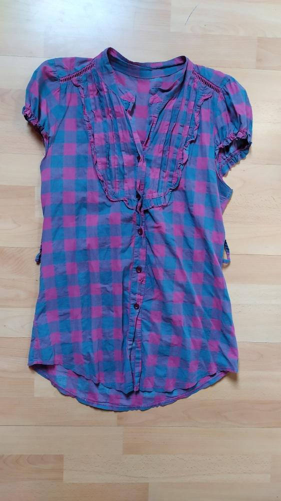 Koszula w kratę różowo fioletowa r40