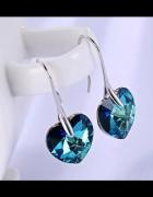 Kolczyki Swarovski Elements BERMUDA BLUE serca serduszka srebrn...