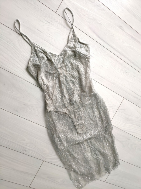 Sukienka brokat srebrna karnawał sylwester