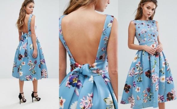 Koktajlowa suknia rozkloszowana kwiatowy print