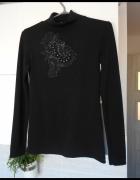 Zara sweter czarny golf zdobiony perły kryształki hafty...