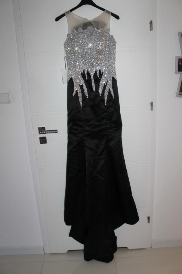 Suknie i sukienki Suknia sylwester cekiny siateczka tren rozmiar 34