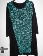 Sukienka tunika czarna puszysta groszki xxxl