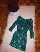 Sukienka cekinowa butelkowa zieleń...